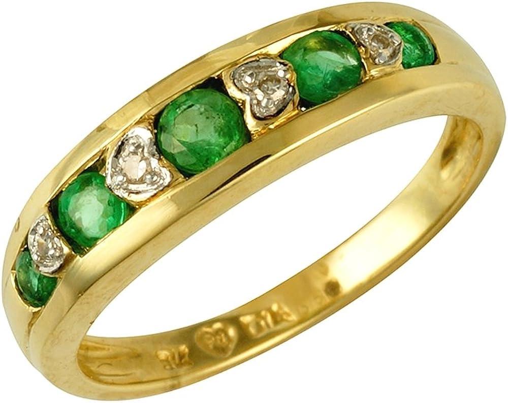 Bague - 135R0110-07/9AM - O - Anillo de mujer de oro amarillo (9k) con esmeraldas y diamantes
