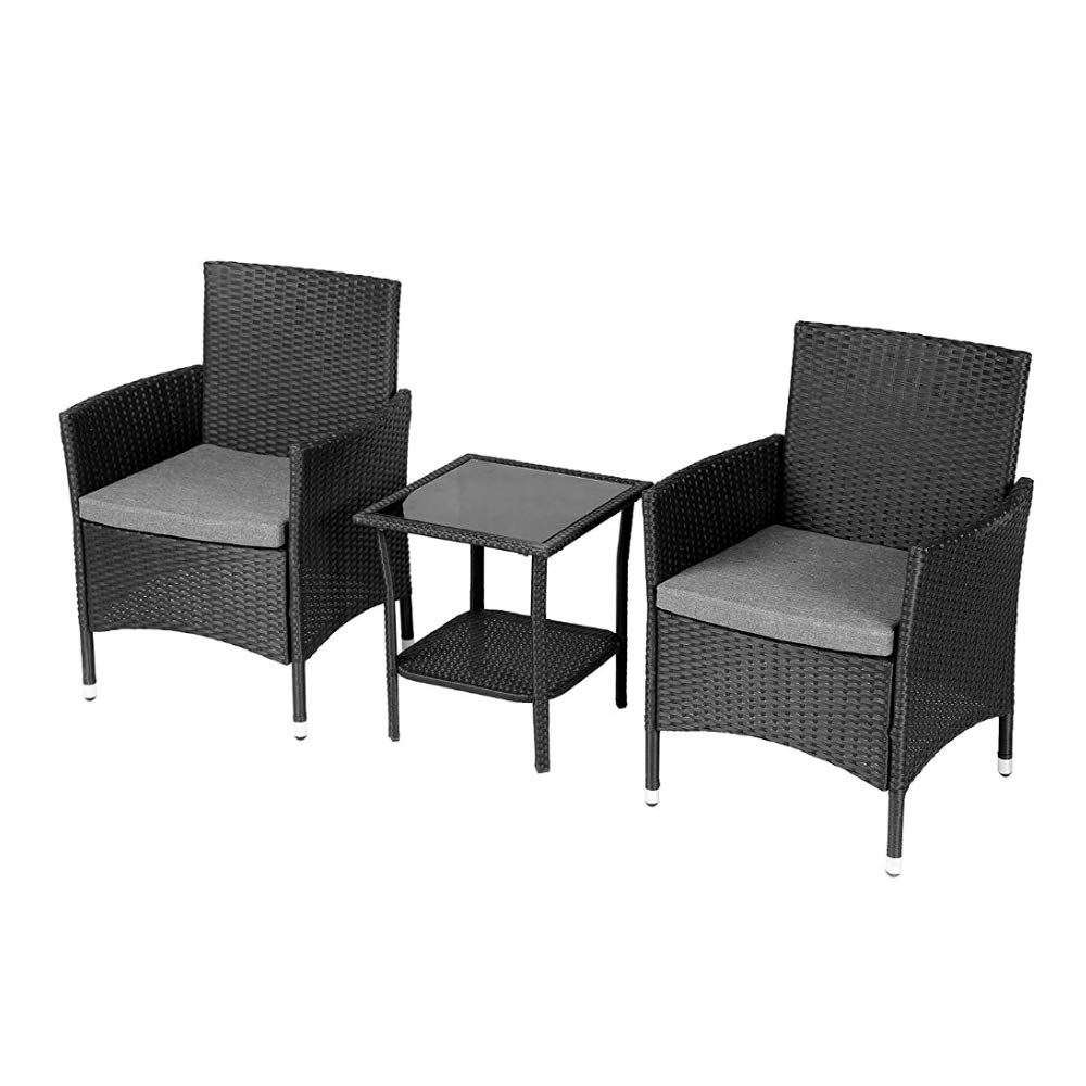 3pc bistro set black all weather resin wicker rattan steel frame cushioned patio colloquy furniture garden pool porch modern comfortable ebook by jefshop