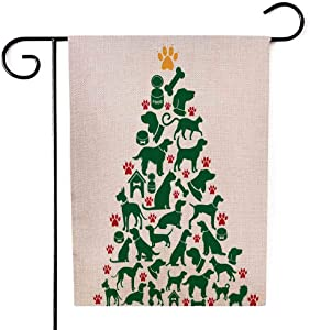 Shorping Decorative Outdoor Garden Flag, 12.5X18Inch Cartoon Dogs Cats Christmas Tree for Holiday and Seasonal Double-Sided Printing Yards Flags