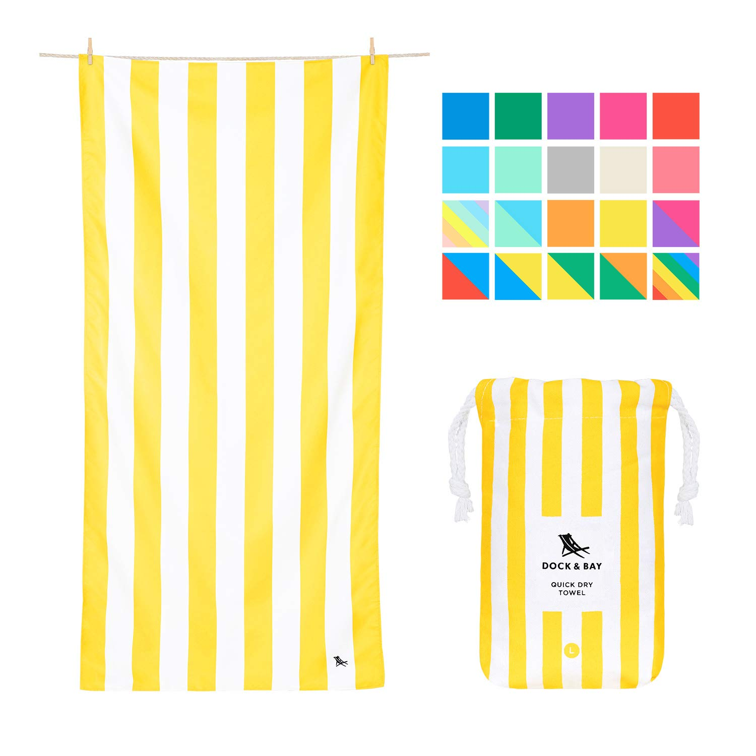 Lightweight Travel Towel for Beach - Boracay Yellow, Large (160x80cm, 63x31) - Fast Drying Swim Towel, Compact Towel for Traveling