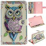 Tab 4 Case Galaxy Tab 4 8 inch T337 kickstand Case,MOUSE Monster Vivid Energetic Owl Pattern Premium Pu Leather Slim Flip Kickstand Case Cover for Samsung Galaxy Tab 4 8.0 SM-T337