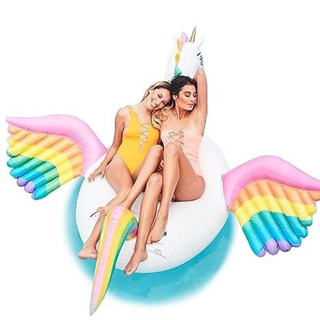 Sensexiao Inflables PVC Pegasus Forma Piscina flotadores Asiento para Niños Adultos Niños Niñas Niñas Flotador de