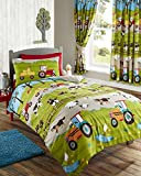 Single Size Duvet set and Curtains Farm Animals and Tractor Design (Duvet Set/Curtains 66x54)