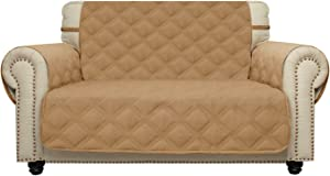 Sofa Cover Waterproof with Anti-Skip Dog Paw Print 100% Quilted Furniture Protector Sofa Slipcover for Children, Pets for Leather Couch (Sand, Loveseat(Oversized))