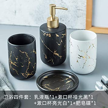 Amazon Com Zyqzxhn Vintage Ceramic Bathroom Accessories Sets Bathroom Vanity Decor Simple Gold Marble Black And White 4 Piece Contain Soap Dispenser 2 Pcs Tumbler Soap Dish For Home Hotel Toilet Furniture Decor