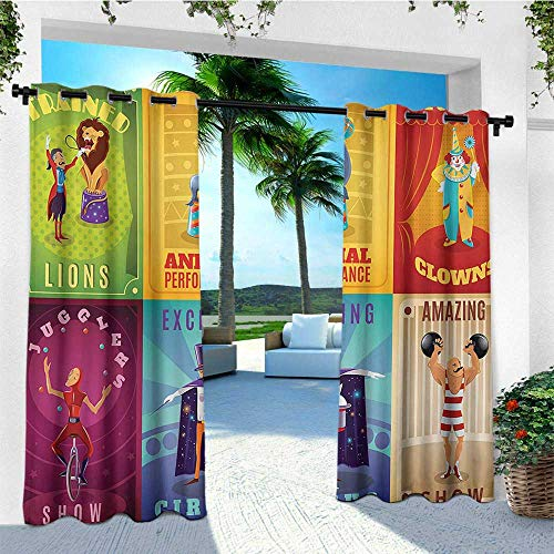 leinuoyi Circus, Outdoor Curtain Extra Wide, Circus Characters with Trained Animals Strong Man Trapeze Artist Retro Show Design, Outdoor Curtain Panels for Patio Waterproof W120 x L96 Inch Multicolor