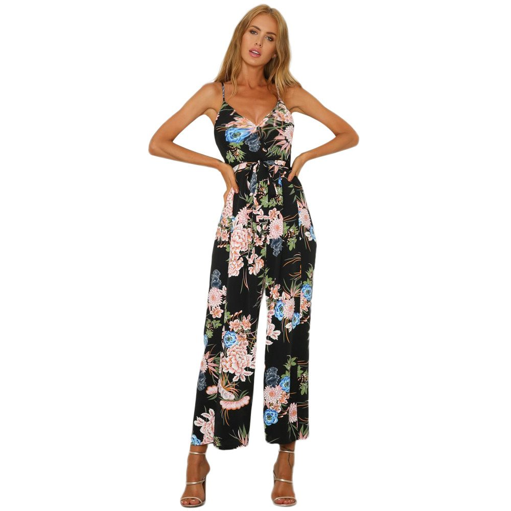 5bf752c313e0 Amazon.com  Sunyastor Women Floral Romper Jumpsuit Sexy Beach Overlay Boho  Wide Leg High Waist Pants Strappy Slit Long Trouser Playsuits  Clothing