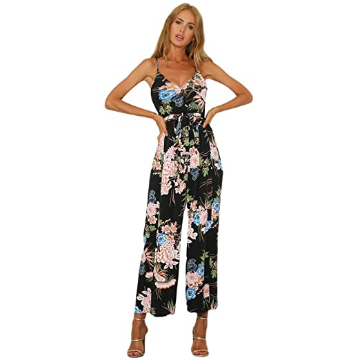 2f2ae0b41dcb Amazon.com  Jumpsuits for Women Criss Cross Bandage Flowy Floral Long Pants  Loose Beachwear Romper Jumpsuit Bodysuit  Clothing