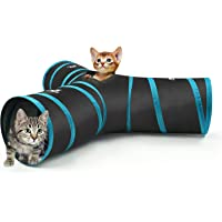 Pawaboo Cat Tunnel, Premium 3 Way Tunnels Extensible Collapsible Cat Play Tunnel Toy Maze Cat House with Pompon and Bells for Cat Puppy Kitten Rabbit, Black & Light Blue