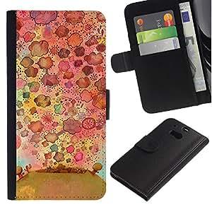For HTC One M8,S-type® Flowers Nature Drawing Pattern - Dibujo PU billetera de cuero Funda Case Caso de la piel de la bolsa protectora