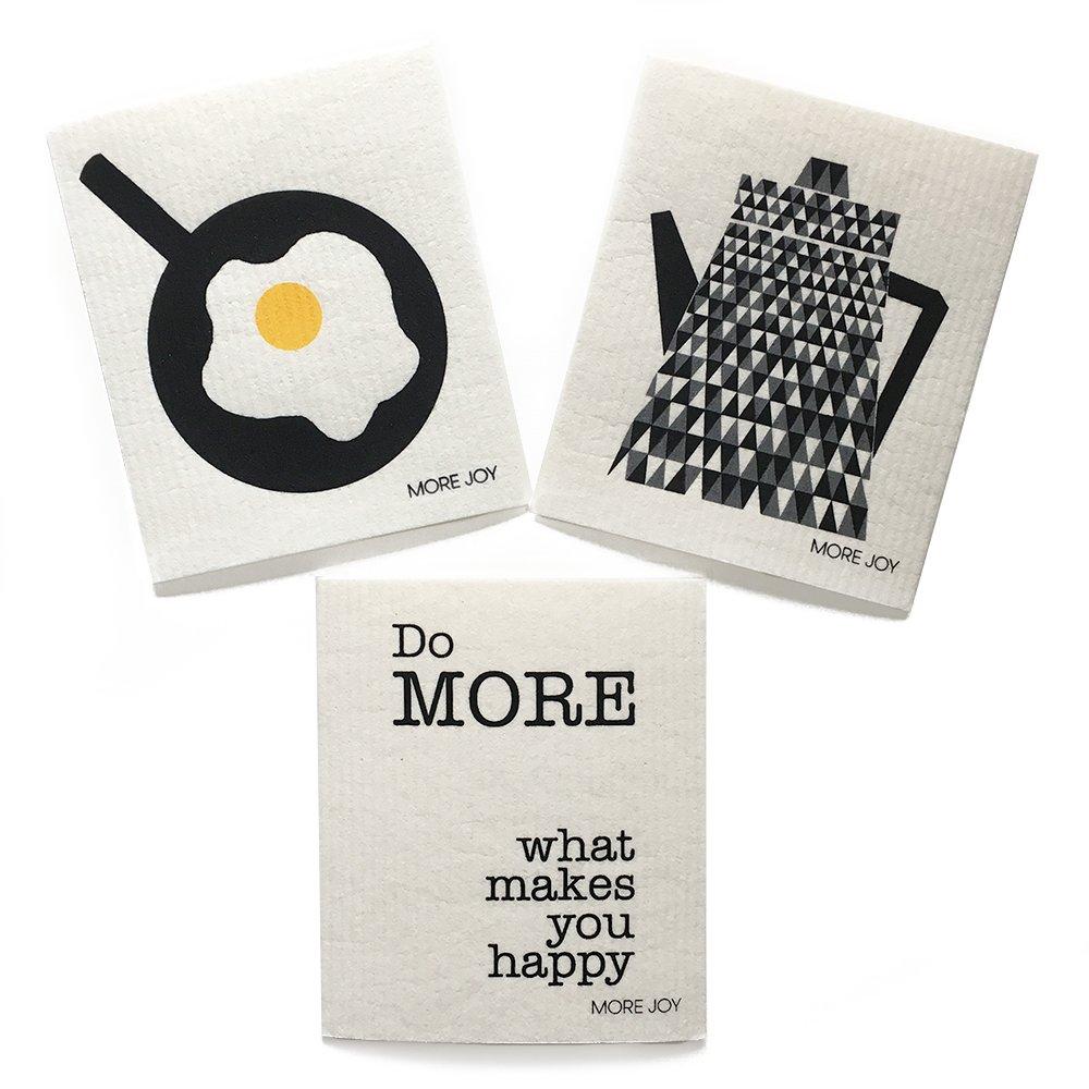 sweetgum More Joy, Swedish Dishcloth, Happy (Egg in pan, Teapot, Do More What Makes You Happy) Set of 3, Black/White / Yellow