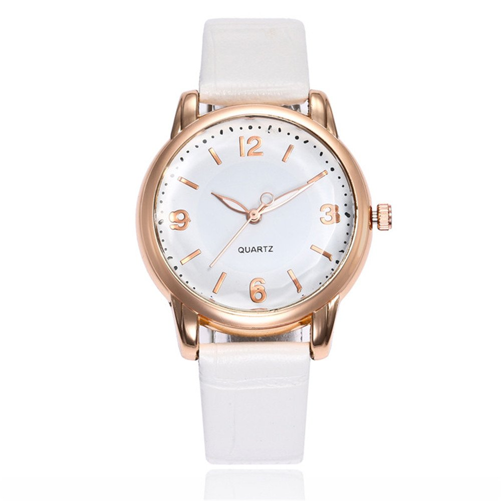 Loweryeah Pu Leather Strap Quartz Watch Simple Dial Male and Female Watches