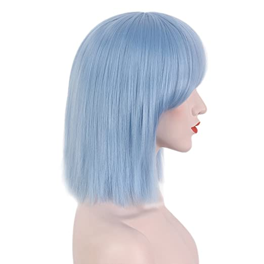 STfantasy Blunt - Peluca de pelo sintético corto y recto, color azul: Amazon.es: Belleza