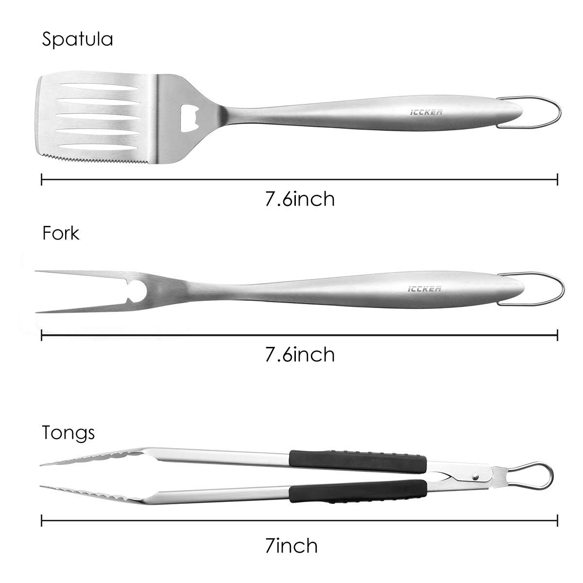 ICCKER BBQ Grilling Tools – Kitchen Tongs Spatula Fork – Best for Barbecue Grill, 18 Inch Extra Thick Stainless Steel Utensils Turner Accessories