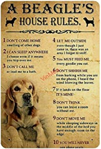 """Retro Vintage Metal Sign A Beagle House Rules Reproduction Metal Tin Sign Wall Decor for Cafe Bar Pub Home 12"""" X 18"""""""