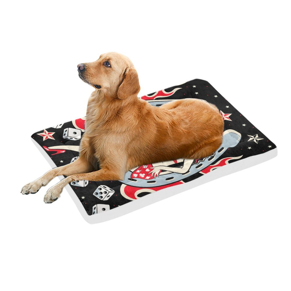 42\ your-fantasia Lady Luck Pinup Lady Pet Bed Dog Bed Pet Pad 42 x 26 inches