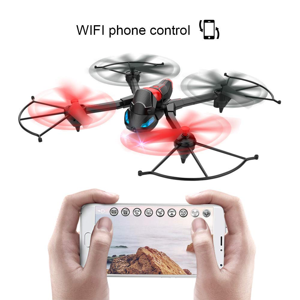 FPV Drone with Camera WiFi, RC Quadcopter 2.4G 6 Axis-Remote Control with Altitude Hold, Headless, Route Setting, One-Key Take-Off/Landing land-air-jump 3Mode Assemble Deformation (2.4G, Black) by S.H.EEE (Image #7)