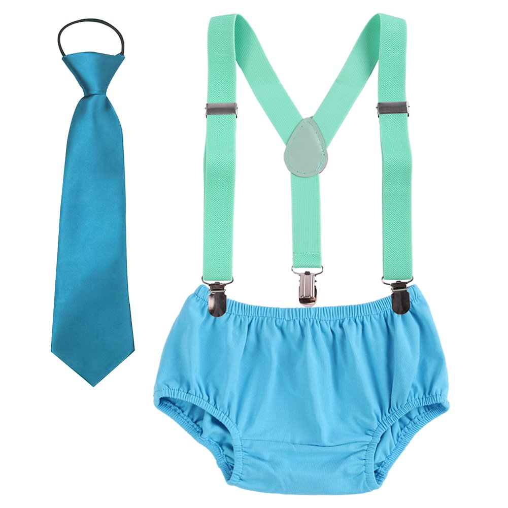 Baby Boys Suspenders Cake Smash Outfits Bloomers Necktie Bowtie Adjustable Y Back Clip Tie Kids 1st Birthday Clothes set