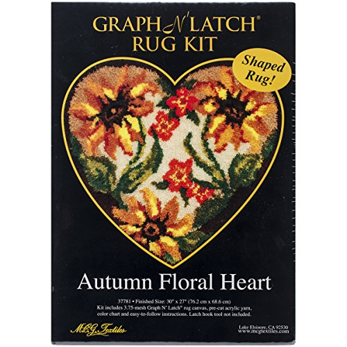 M.C.G. Textiles Latch Hook Kit, 30 by 27-Inch, Autumn Floral Heart -
