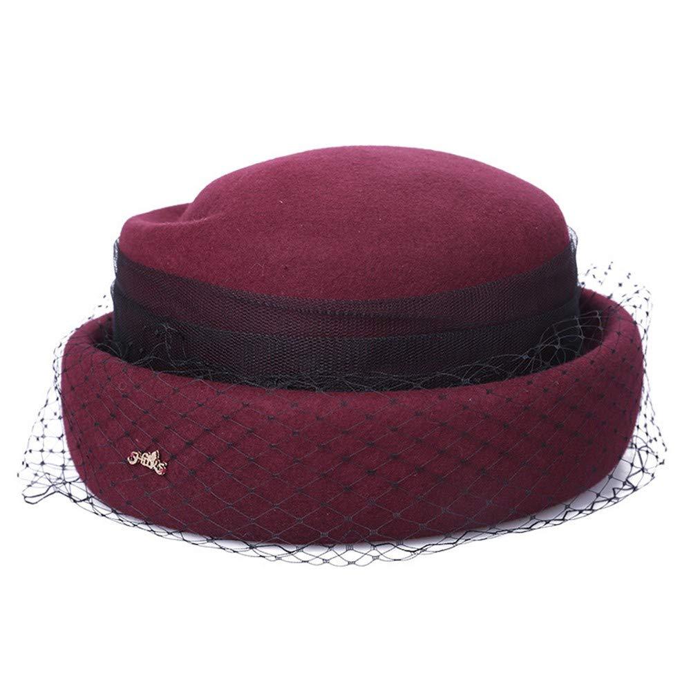 SweetStyle Hut, Herbst und Winter Hut, weiblicher Zylinder, Bankett Mesh, Baskenmütze, rot