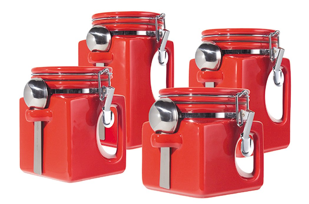 Superieur Amazon.com: Oggi EZ Grip Handle 4 Piece Ceramic Airtight Canister Set, Red: Kitchen  Storage And Organization Product Sets: Kitchen U0026 Dining