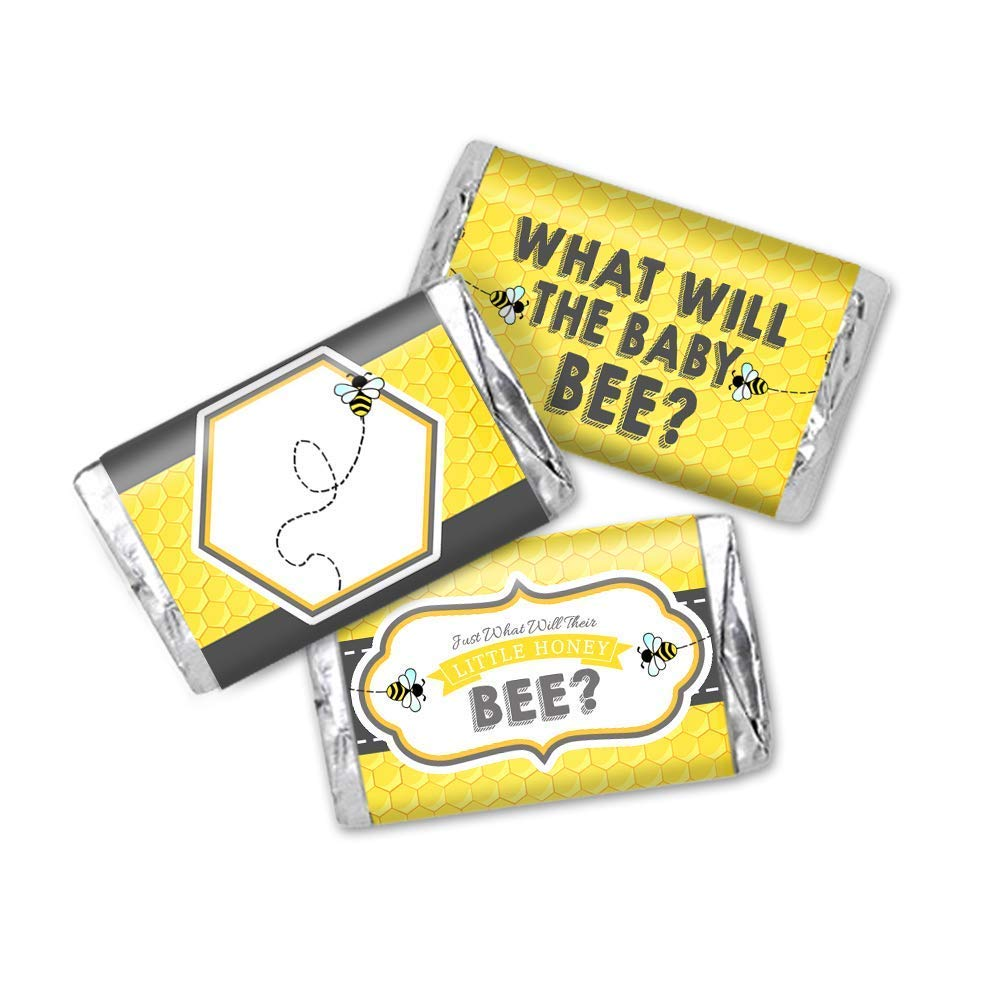 54 Total Honey Bee Baby Shower Favor Stickers Miniatures Candy Bar Wrapper Labels