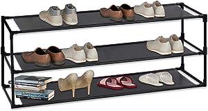 JERRY & MAGGIE - 3 Tier Steel Shoe Rack Shelf Detachable Non-Woven Waterproof Clothes Rack Shoe Storage Shelves Free Standing Flat Racks Classic Style - Multi Function Shelf Organizer