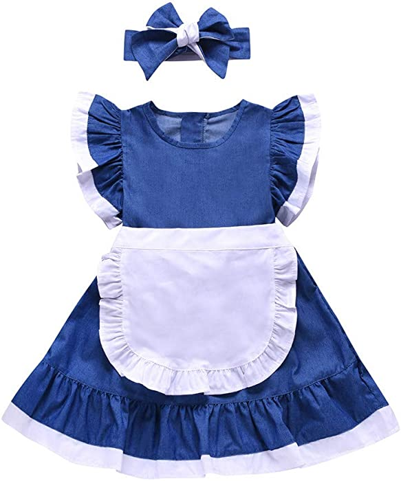 3eeec71ad5ff Amazon.com  MOVEmen Summer Baby Girls Fly Sleeve Solid Dress Splice ...