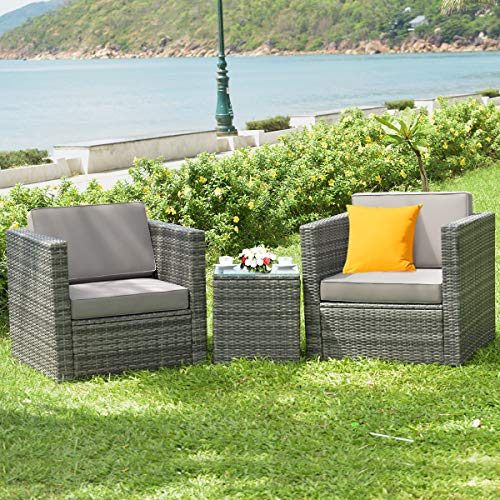 Tangkula 3 PCS Patio Wicker Bistro Set, Outdoor Rattan Sofa Set, Conversation Furniture w/Washable Cushion, Tempered Glass Top Table, Suitable for Backyard Porch Garden Poolside Balcony (Grey)