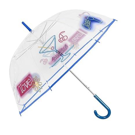 Paraguas Transparente Mujer - Paraguas Clásico de Burbuja Automatico - Estampado Cocktail y Carteles Neón -