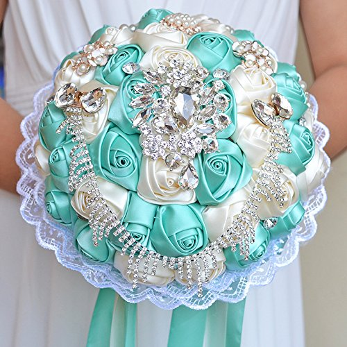 Zebratown 9'' Rose Satin Holding Flower Lace Pearl Brooch Rhinestones Bridal Bouquet Wedding Party Décor for Bride/Bridesmaid (Tiffany Blue)