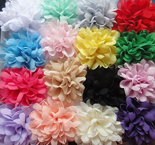 - Lyracces Mixed 16pcs Chiffon Fabric Handmade Craft Cabbage Hat Corsage 16color Baby Hairbands Flower Appliques 4