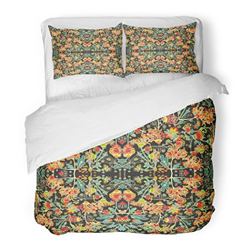 SanChic Duvet Cover Set Batik Abstract Pattern Indonesia Woman Floral Indonesian Persian Decorative Bedding Set Pillow Sham Twin Size by SanChic