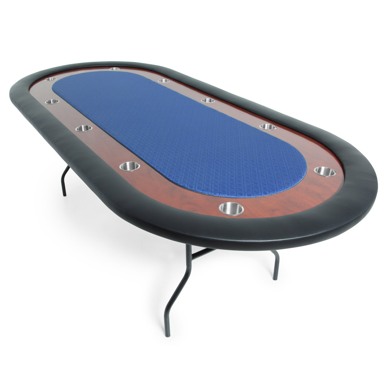 BBO Poker Ultimate Folding Poker Table for 10 Players with Blue Speed Cloth Playing Surface, 92 x 44-Inch Oval by BBO Poker