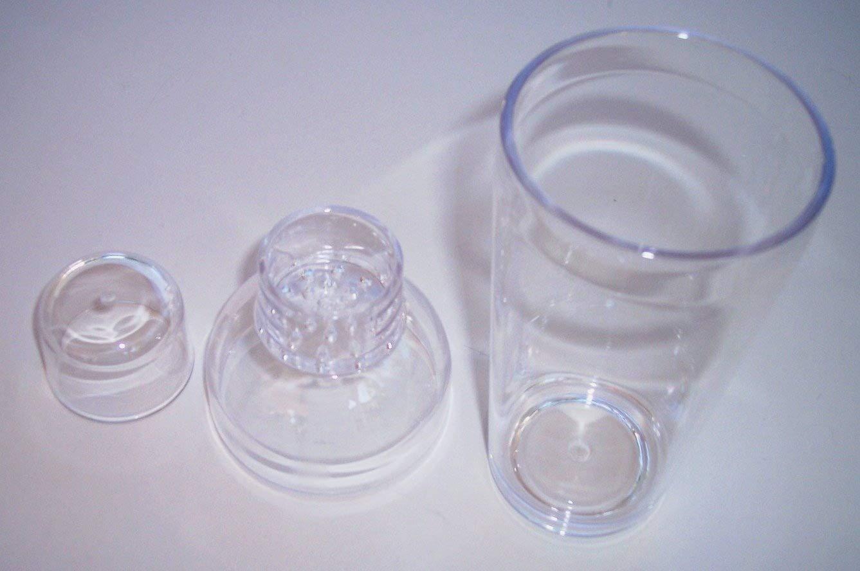 16 oz Clear Polycarbonate Plastic Cocktail Bar Shot Shaker 3-Piece Mixer