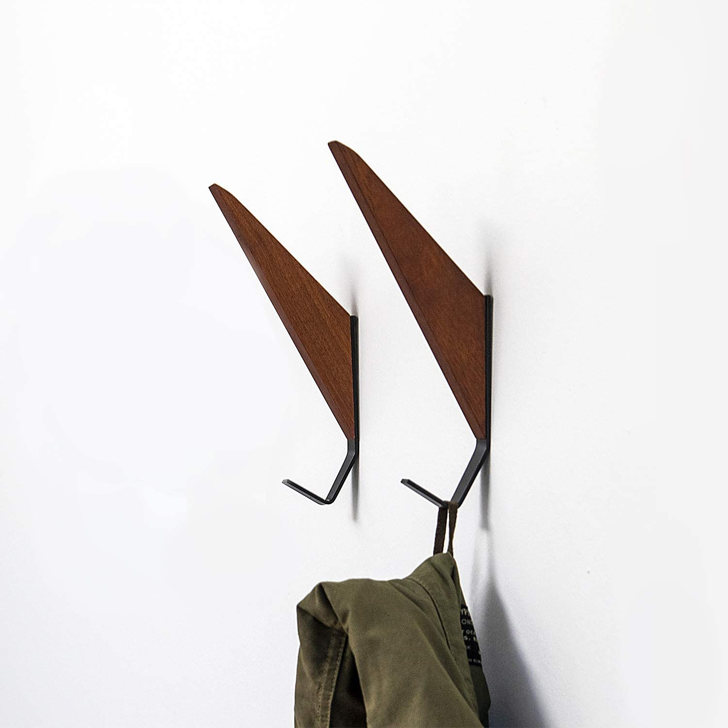 Mid-Century Modern Wall Coat Hooks Solid Teak Wood (Set of 2)