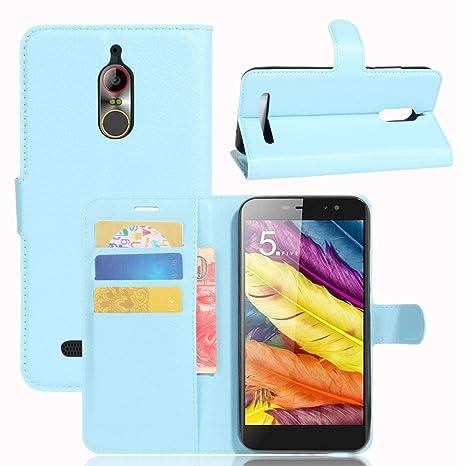 Guran® Funda de Cuero PU Para ZTE Nubia N1 Lite Smartphone Función de Soporte con Ranura para Tarjetas Flip Case Cover Caso-azul