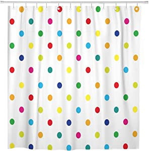 ArtSocket Shower Curtain Geometric Colorful Rainbow Polka Dot Home Bathroom Decor Polyester Fabric Waterproof 72 x 72 Inches Set with Hooks