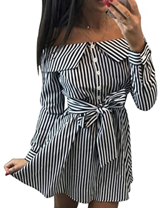 610e7208d2 Moxeay Womens Long Sleeve Off Shoulder Stripe Button Down Shirt Mini Dress  with Belt (S