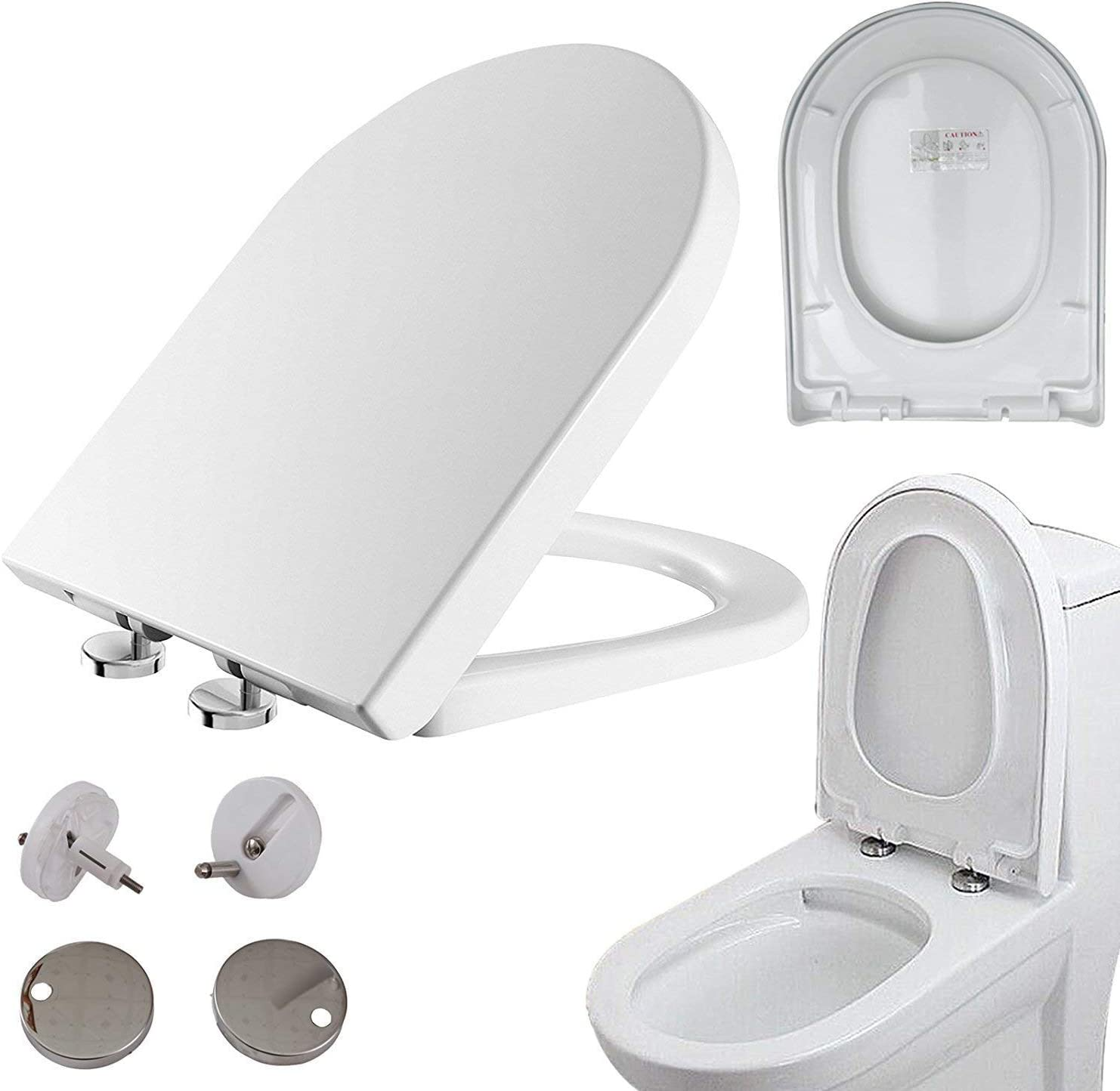 MODERN D SHAPE HEAVY DUTY SOFT CLOSE WHITE TOILET SEATWITH TOP FIXING HINGES