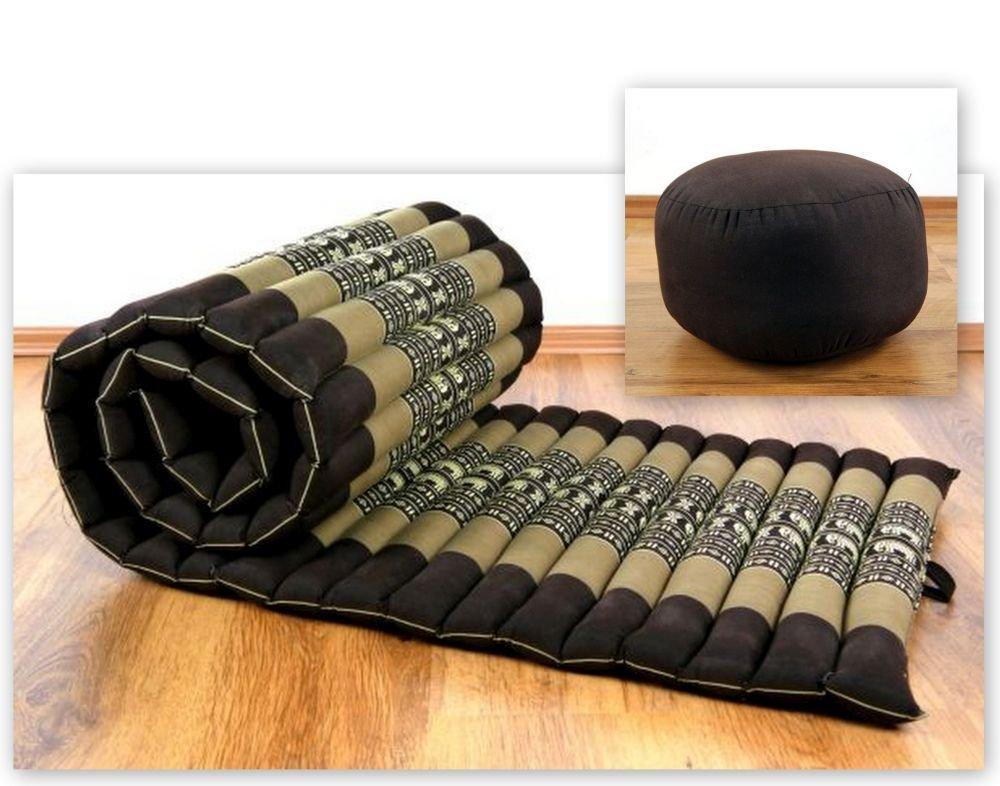 Kapok Rollmatte (190cm x 50cm x 4,5cm) mit Yogakissen; Liegematte / Yogamatte mit Thaikissen, Thaimatte (asiatische Rollmatratze) für Sport und Freizeit