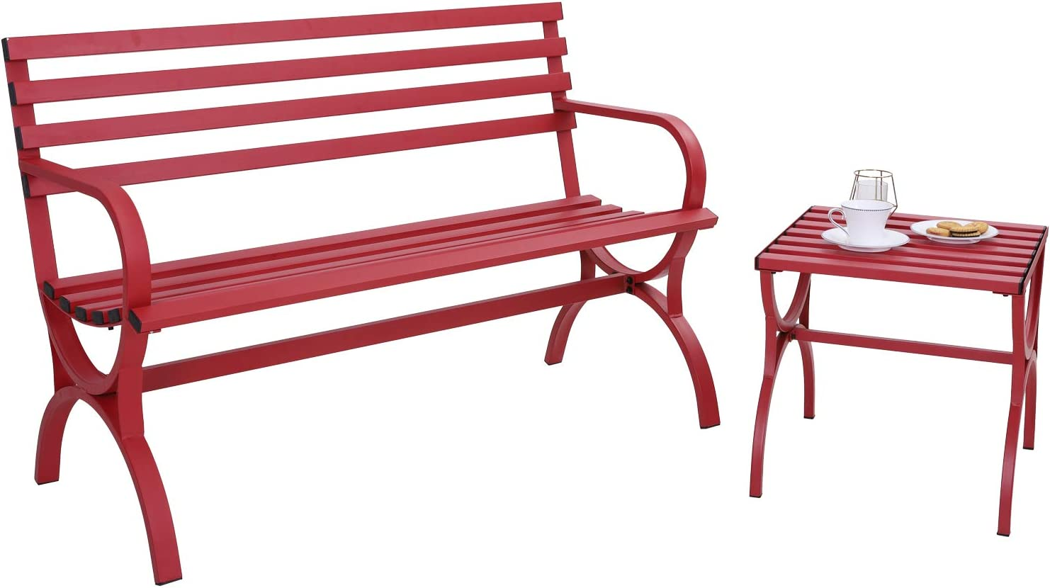 Sophia & William Outdoor Garden Bench Patio Metal Park Bench with Small Side End Table, Steel Frame Furniture with Backrest and Armrests for Porch Yard Lawn Deck, Red