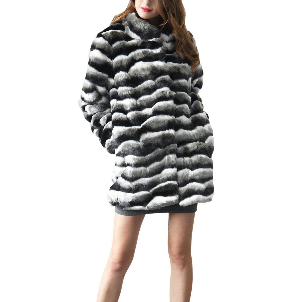 iBaste Abrigos de Pelo Sintético Mujer Chaquetas Estilo Medio y Largo Color Mezclado Ondulado Abrigo Invierno: Amazon.es: Ropa y accesorios