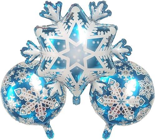 TOYMYTOY 4 unids copo de nieve y globos de papel de aluminio de la estrella fuentes del partido Pentagram Mylar globos para la decoraci/ón de la fiesta de Navidad de la boda del cumplea/ños