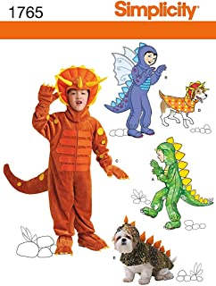 product image for Simplicity 1765 Child's and Dog's Dinosaur Costume Sewing Patterns, Children's Sizes 3-8 and Dog's Sizes S-L