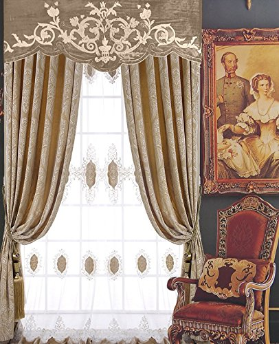 FADFAY Luxury Curtains Drapes European Style Camel Blackout