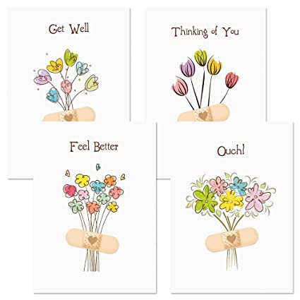 Bandaged Get Well Greeting Cards Set Of 8 4 Designs