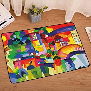 lacencn Art Floor Mat Modern Vivid Abstract Architectural Buildings Urban Apartment Houses Village Landmark Bedroom Rugs Super Soft and Cozy for Home Decorate, W35 x L47 Multicolor