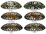 Set of 6 Oval Crystal Barrettes, Decorated with Sparkling Beads and Crystals, One Ea of 6 Colors NM86010-1-6