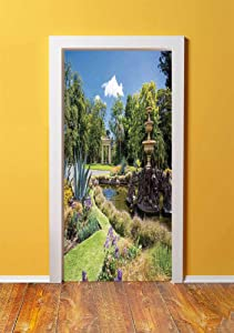 Country Decor 3D Door Sticker Wall Decals Mural Wallpaper,Fitzroy Gardens Summer Day View Fountain Historical Iconic Tourist Attraction,DIY Art Home Decor Poster Decoration 30.3x78.8940,